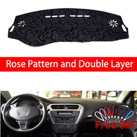 Rose Pattern For Peugeot 301 2014 2015 2016 2018 Dashboard Cover Car Stickers Car Decoration Car Accessories Interior Car Decals