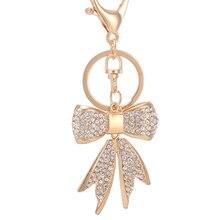 Creative Rhinestone Bow Keychain Fashion Novelty Trinket Charm Bow-knot Key Chain Ring Holder Women Bag Car Accessories R058