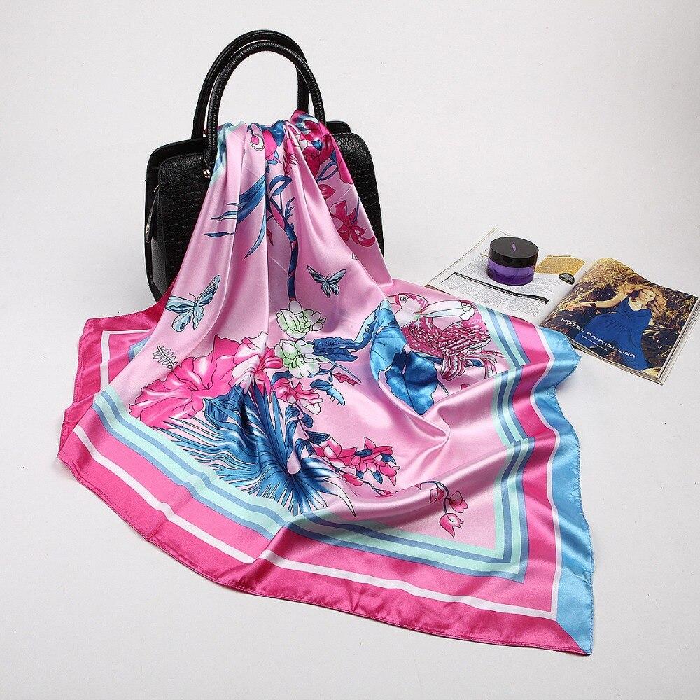 90*90cm Luxury Brand Summer&Autumn 2018 New Arrival 100% Twill Silk Square   Scarves   Flowers   Scarf   Bird   Wraps   Swimwear Hijab