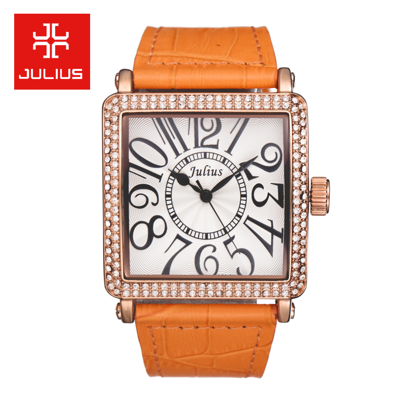 Top Julius Lady Women's Watch Japan Quartz Elegant Rhinestone Large Number Fashion Hours Dress Bracelet Leather Big Girl Gift