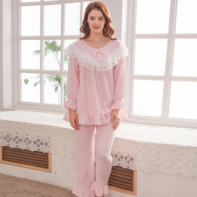 Maternity Breastfeeding Sleepwear Clothes Spring Cotton Long Sleeve With Opening Design Nursing Pajamas Suit Set for Woman