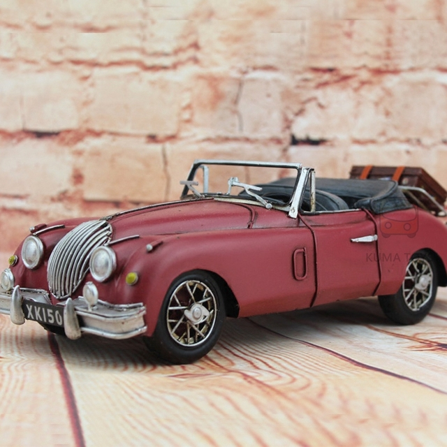 1959 Classic Jaguar Car Red DIY 100% Handmade Iron Sheet Model XK150 1:12