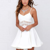 White Black Vestidos 2016 Summer Fashion Women Sexy Strap V Neck Crochet Lace Waist Skater Dress