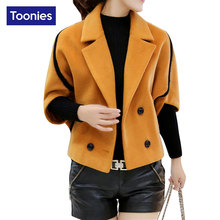 2017 New Winter Woolen Jacket Batwing Sleeve Double Breasted Outwear Lapel Collar Woolen Coats Elegant Plus Size Cloak Casaco