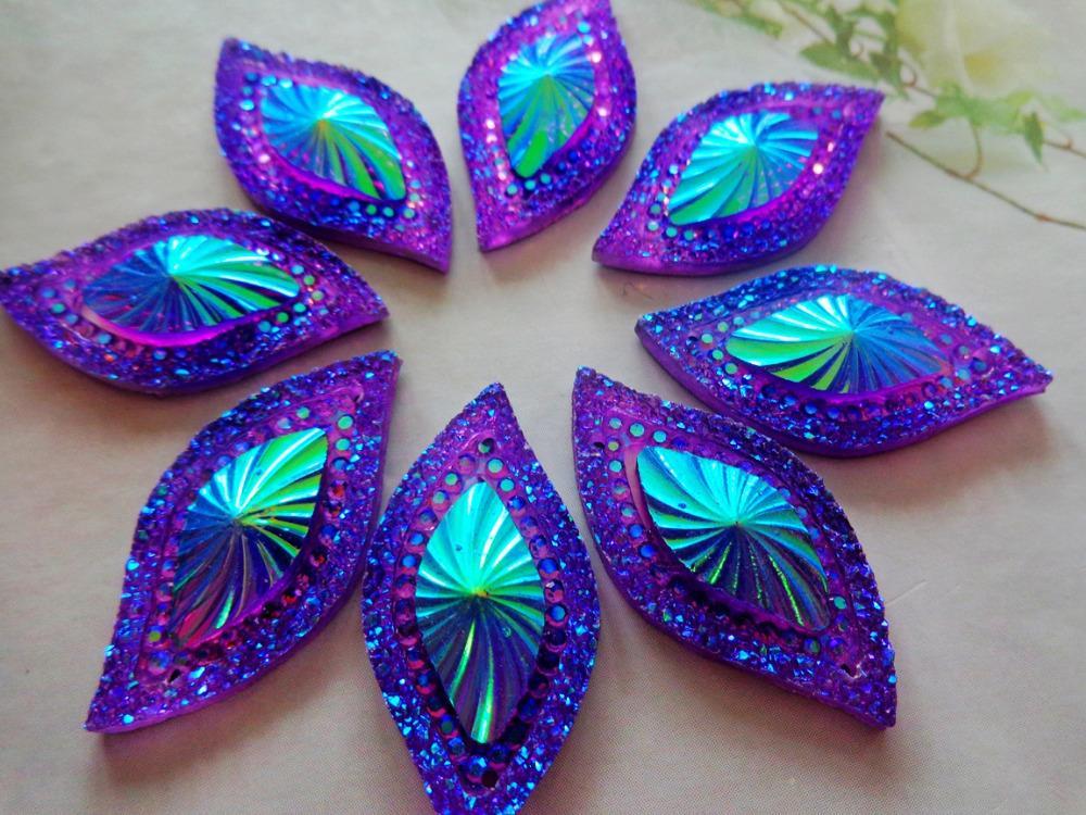 989baa81ac4c 50pcs 15 30mm Navette shape crystal Sew On rhinestones Purple AB colour resin  gem stones flatback strass
