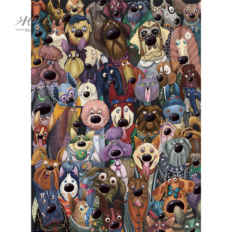Michelangelo Wooden <font><b>Jigsaw</b></font> <font><b>Puzzle</b></font> <font><b>500</b></font> 1000 1500 2000 <font><b>Pieces</b></font> Dog's Group Photo Cartoon Animals Kid Educational Toy Painting Decor image