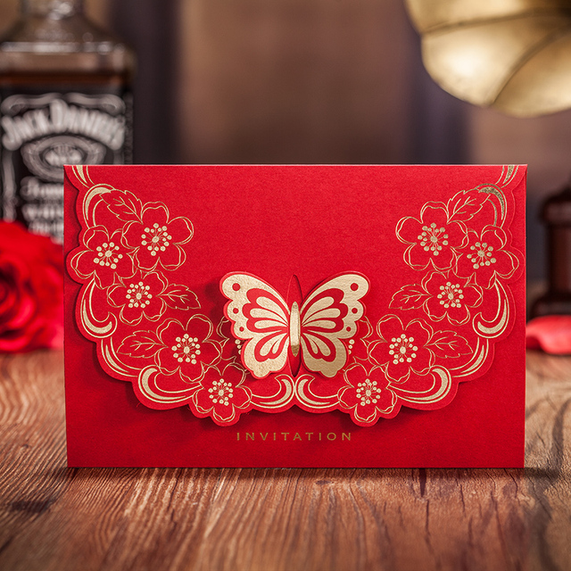 Chinese Style Red Wedding Invitation Card Fashion 3d Erfly Happiness
