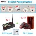 Fácil de usar 1 K-999 teclado inalámbrico 15 localizadores sistema de alarma wireless camarero sistema de llamadas del transmisor y el receptor