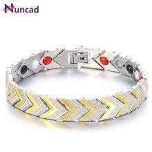Nuncad Grass Rope Magnet Men Charm Bracelets Golden Health Care Jewelry Bracelet Manchette Adjustable Size Pulseiras Masculina