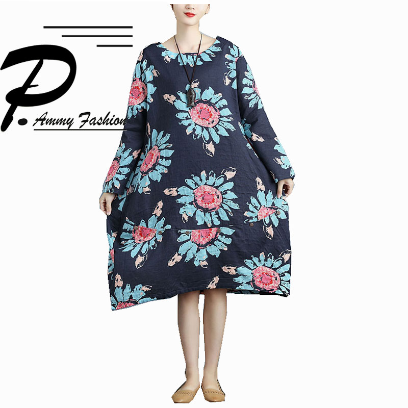 Plus Size Cotton   Linen Flower print Jumper Dress Womens 2018 Spring  Autumn Oversized Long Sleeve voguees dresses Tunic Dress 5e50002915e7