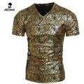 T-Shirt Homme 2016 Short Sleeve T Shirt V-Neck Men Camisetas Bronzing Flower Print Tee Shirt Homme Funny T Shirts size XXL DWRAA