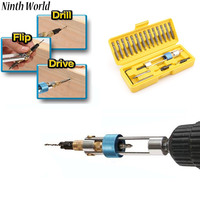 Ninth World 1 Set Half Time Drill High Speed Steel Drill Driver Double Use Hand Screwdriver
