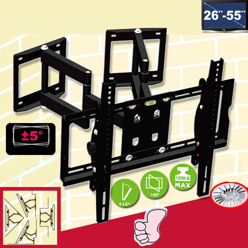 "26-55"" Heavy Duty Wall Corner TV Mount Flexible Full Motion Swing Arm Bracket"