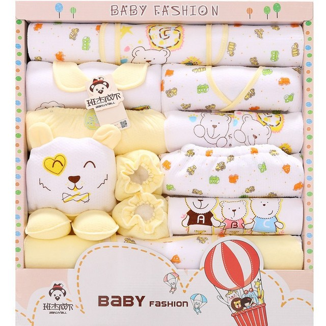 18PCS Set Unisex Infant Baby Cothes Baby Boy Clothing Cotton Newborn Clothes Baby Bodysuits Bebe Clothes Bibs Hats Gift Set TZ36