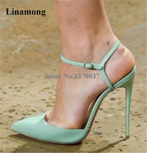 Spring New Fashion Women Pointed Toe Patent Leather Stiletto Heel Pumps Ankle Buckle Strap Pink White High Heels Club Shoes недорго, оригинальная цена