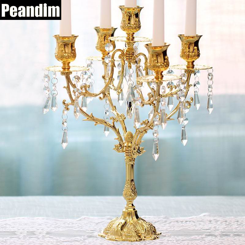 PEANDIM 5 3 Lights Romantic 5 Arms Candle Holders European Candle Strand Candlelight Dinner Decorations Gold
