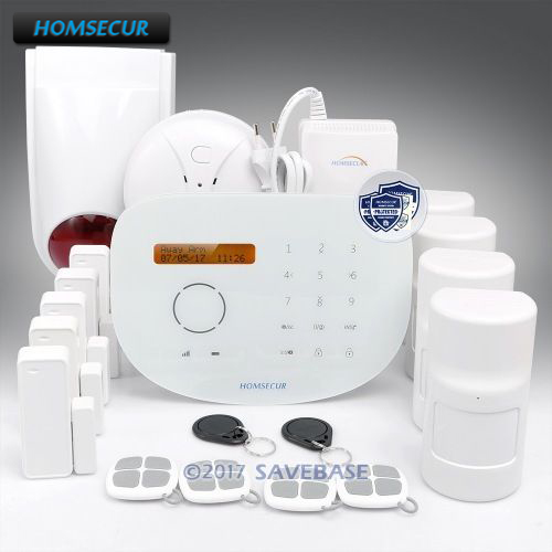 HOMSECUR Wireless GSM RFID Burglar Intruder Alarm System with Wireless Flash Siren+Smoke Detector+Gas Detector