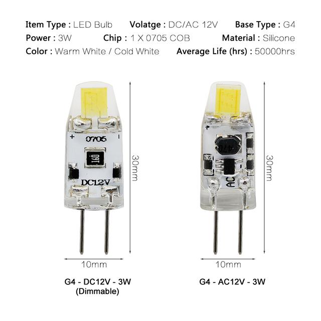 1pcs Mini G4 LED COB Lamp 3W 6W Bulb AC DC 12V 220V Candle Silicone Lights Replace 20W 30W 40W Halogen for Chandelier Spotlight