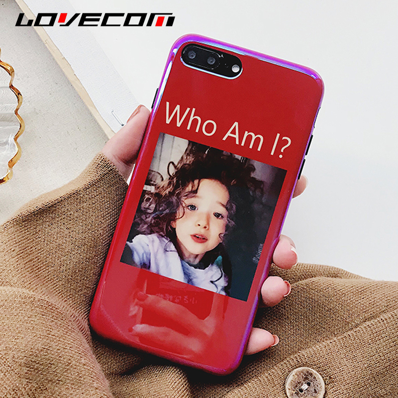 "LOVECOM Glossy <font><b>Blu-Ray</b></font> Phone Case For iPhone 6 6S 7 8 Plus X <font><b>Lovely</b></font> Girl ""Who <font><b>Am</b></font> <font><b>I</b></font>"" Red Soft Silicon IMD Cases Cover Fundas Capa"