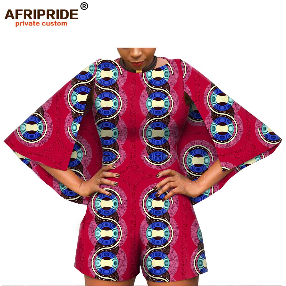 AFRIPRIDE Playsuits Cloak-Sleeve Fashion Women Casual Cotton for Tailor-Made Bazin Richi