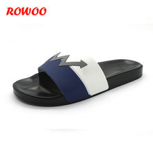 Men Slippers Summer Flat 2019 Summer Men Shoes Breathable Beach Slippers Blue White Flip Flops Men Brand Slides Male Slippers(China)