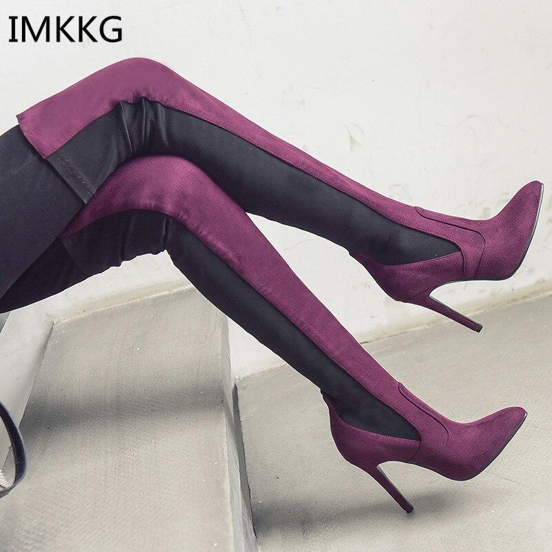 2018 Neue Mode über Das Knie Stiefel Atmungsaktiv Frauen Stiefel Schuhe Frau High Heels Mode Oberschenkel Hohe Stiefel A685 Chinesische Aromen Besitzen