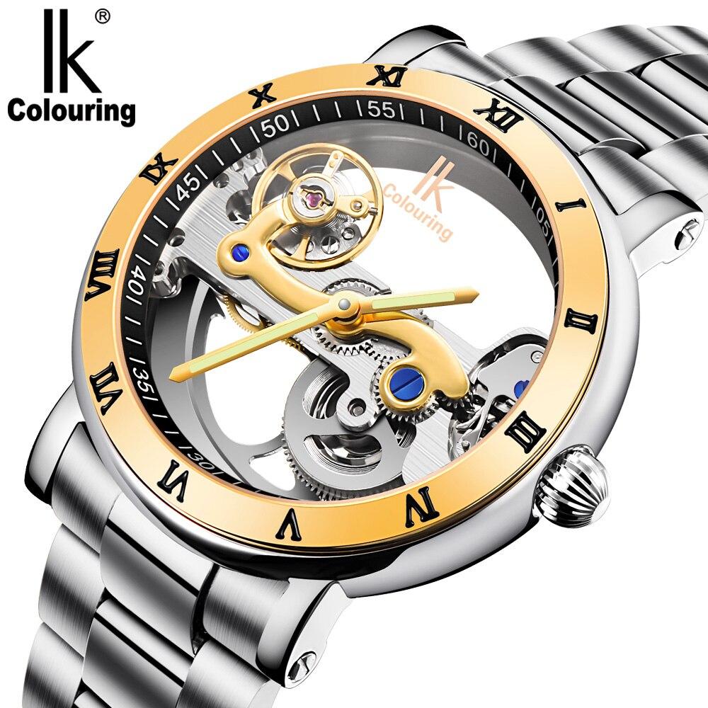 IK homens Mecânicos Automáticos Relógio Marca De Luxo Subiu Caso de Ouro Esqueleto de Aço Inoxidável relógio À Prova D' Água Transparente 98399