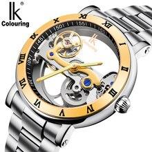 Ik relógio mecânico automático masculino marca de luxo rosa caso ouro esqueleto aço inoxidável transparente à prova dclock água 98399
