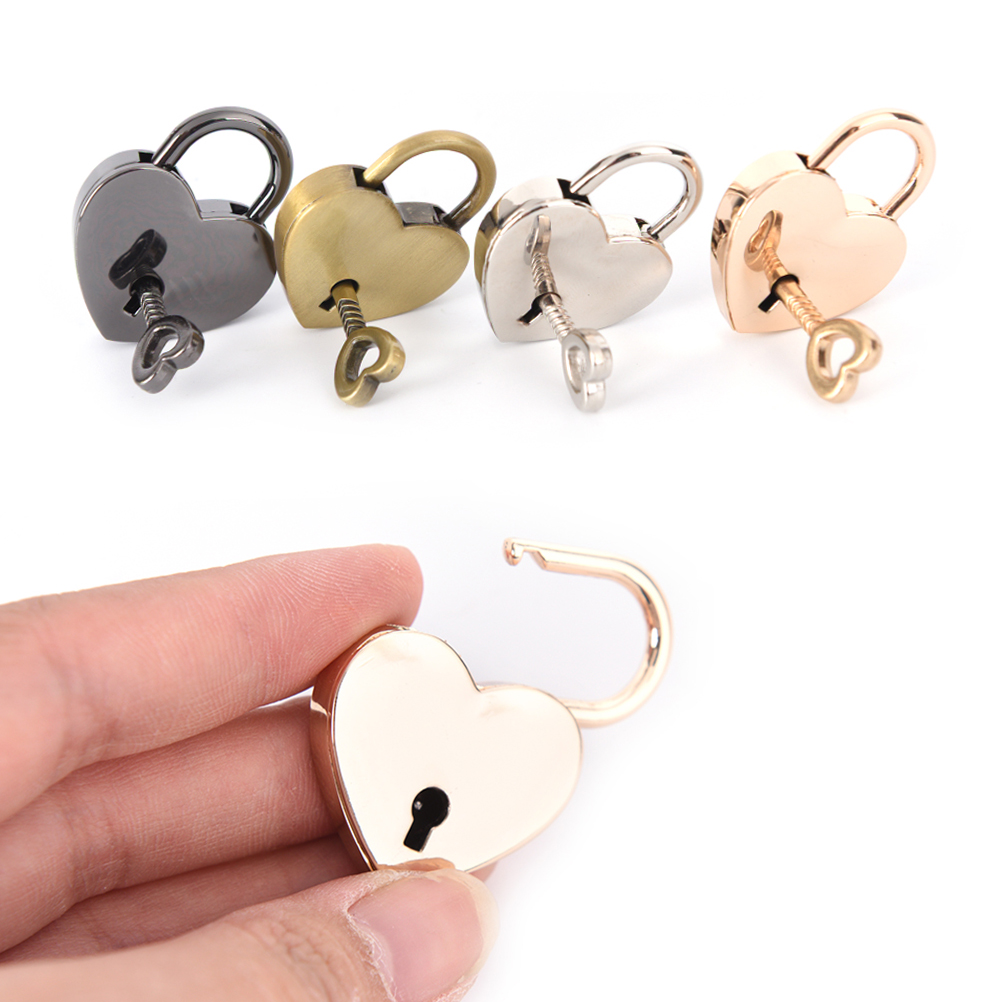 Mini Padlock Small Love Heart Shape Padlock Zinc Alloy Suitcase Locker Tiny Luggage Bag Case Lock With Keys