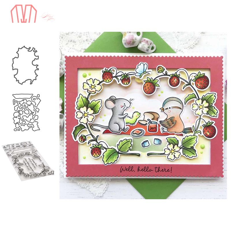 Mai Strawberry Mouse Metal Cutting Dies Stencils Cear Stamp For DIY Scrapbooking Photo Album Decorative Embossing DIY Paper Card