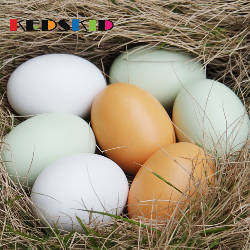 1PCS Hen Poultry Simulation Wooden Fake Eggs Chicken Duck Geese Hatch Incubation Breeding The Kitchen Toy House Painting Toy