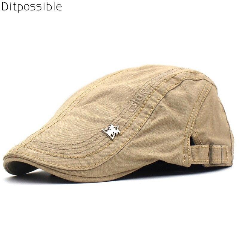 100% QualitäT Ditpossible Baumwolle Hüte Für Männer Sommer Klassische Stickerei Solide Flache Kappe Baskenmütze Casquette Beiläufige Kappen