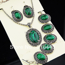 Charms 2 Sets Vintage Antique Silver P Oval Natural Malachite Stone Earrings Bracelet Necklace Women Jewelry Set  A 698