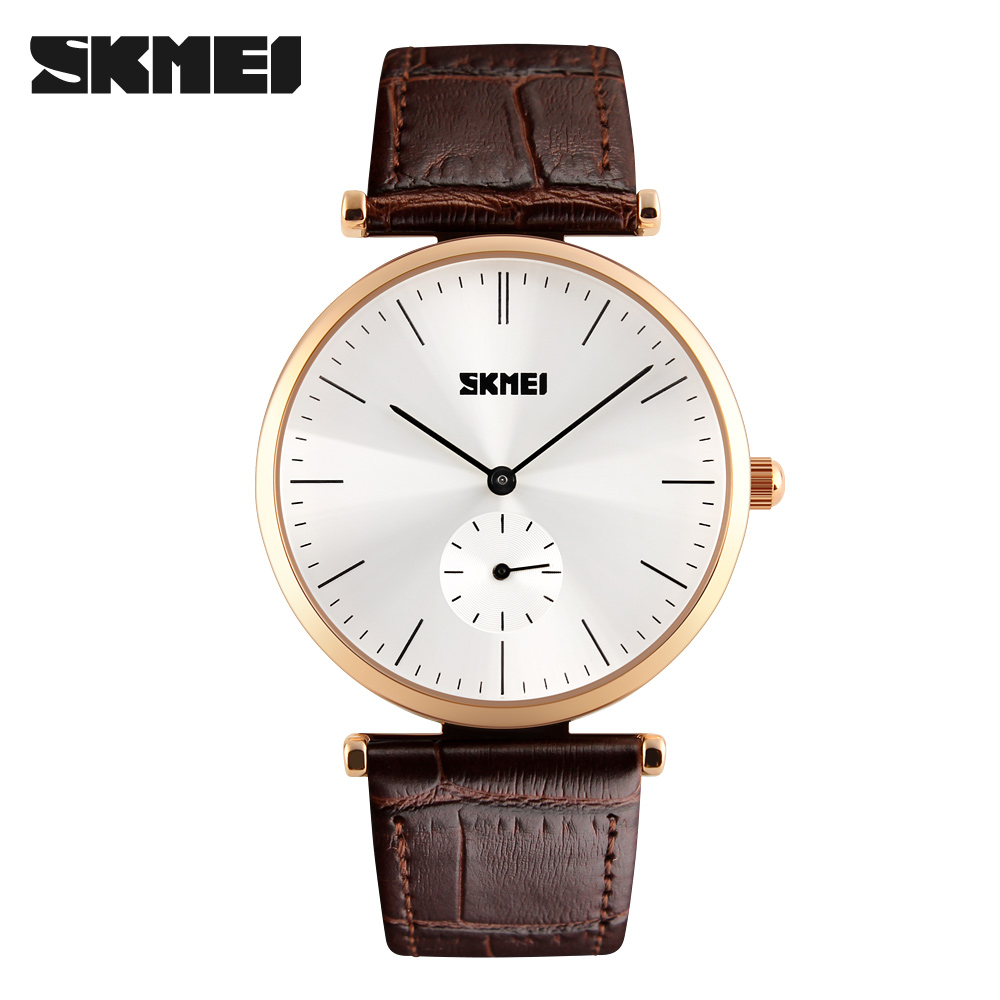 цена 2017 Super slim Quartz Casual Wristwatch Business SKMEI Brand Genuine Leather Analog Quartz Watch Men's Sports Wristwatches New