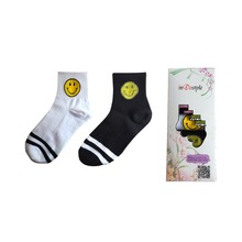 5 pairs inDostyle  harajuku emoji smiling face  Sock  korean retro cotton socks female ladies women brand hosiery socks smi02