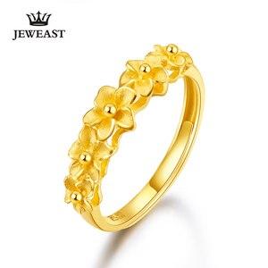 Image 1 - JMZB 24K 순수한 금 반지 진짜 AU 999 단단한 금 반지 상류층 아름다운 꽃 유행 고전적인 정밀한 보석 뜨거운 판매 새로운 2020