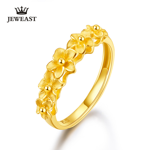 JMZB anillo de oro puro de 24K para mujer, sortijas de oro sólido auténtico AU 999, flores hermosas de lujo, joyería clásica bonito, producto en oferta, novedad de 2020