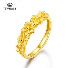 JMZB bague en or pur 24K, véritable AU 999, haut de gamme, belles fleurs, tendance, bijou fin, offre spéciale, nouvelle collection 2020