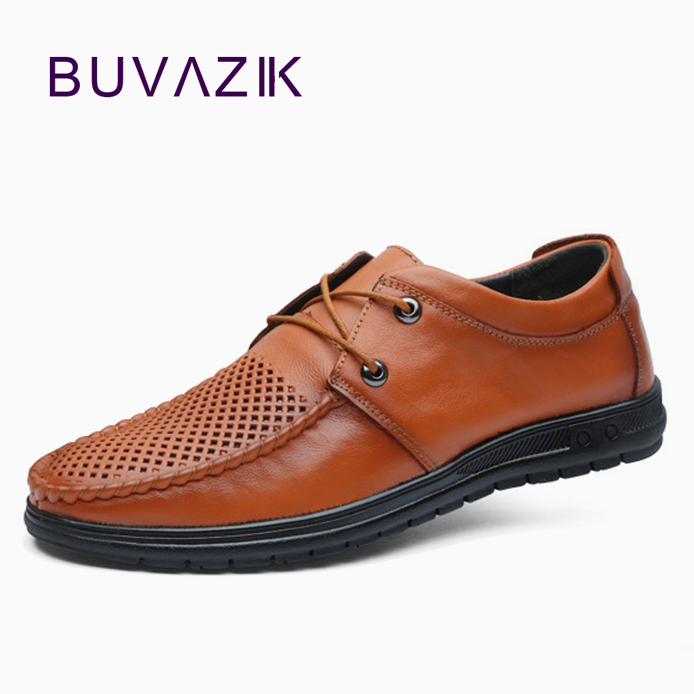 BUVAZIK 2018 summer breathable genuine leather mens casual shoes Lace-up soft rubber sole wear-resistant non-slip comfort shoes france tigergrip waterproof work safety shoes woman and man soft sole rubber kitchen sea food shop non slip chef shoes cover