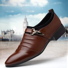 New Men Brogue Dress Shoes With Business Leather Shoes Large Size Carved Italian Formal Oxford For Winter pu Dress Shoes 2018 D4(China)