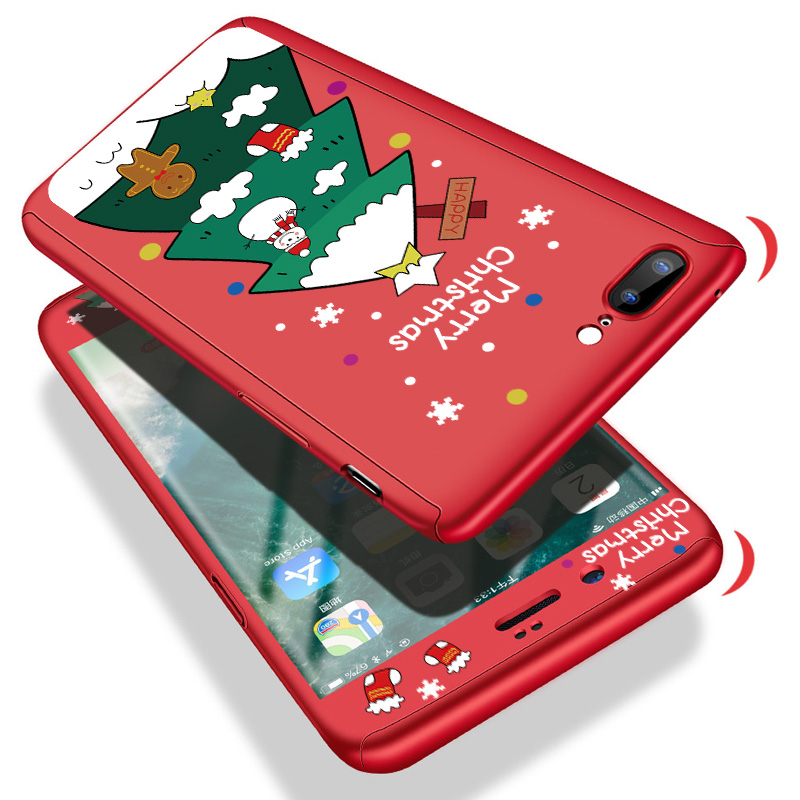 360 Cover Cases For Iphone 7 8 6 6S Plus X XR XS Max Cute Cartoon Christmas Santa Claus Elk Hard Shell For Iphone 7 8 6