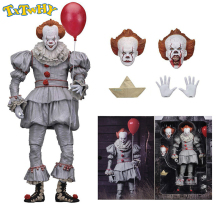 купить One Piece 18cm NECA Scarry Movie Stephen King's Pennywise Joker Clown Halloween Day Cosplay Horror Dolls PVC Action Figure Toys дешево