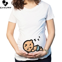 Chivry 2019 Summer Maternity Pregnancy T Shirt Women Cartoon Baby Print Short Sleeve Mama Pregnant Clothes Tops Plus Size trendy scoop neck short sleeve plus size cartoon print t shirt for women