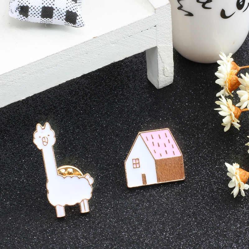 Alpaca Lencana Enamel Lucu Rumah Tanaman Bros untuk Wanita Fashion Perhiasan Tee Shirt Lapel Pin Tas Tombol Ikon gadis Hadiah
