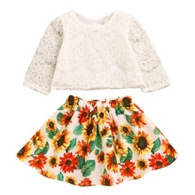 Newborn Toddler Kid Baby Girl Cothes Lace Long Sleeve T Shirt Top + Sunflower Dress Outfits 2Pcs Sets