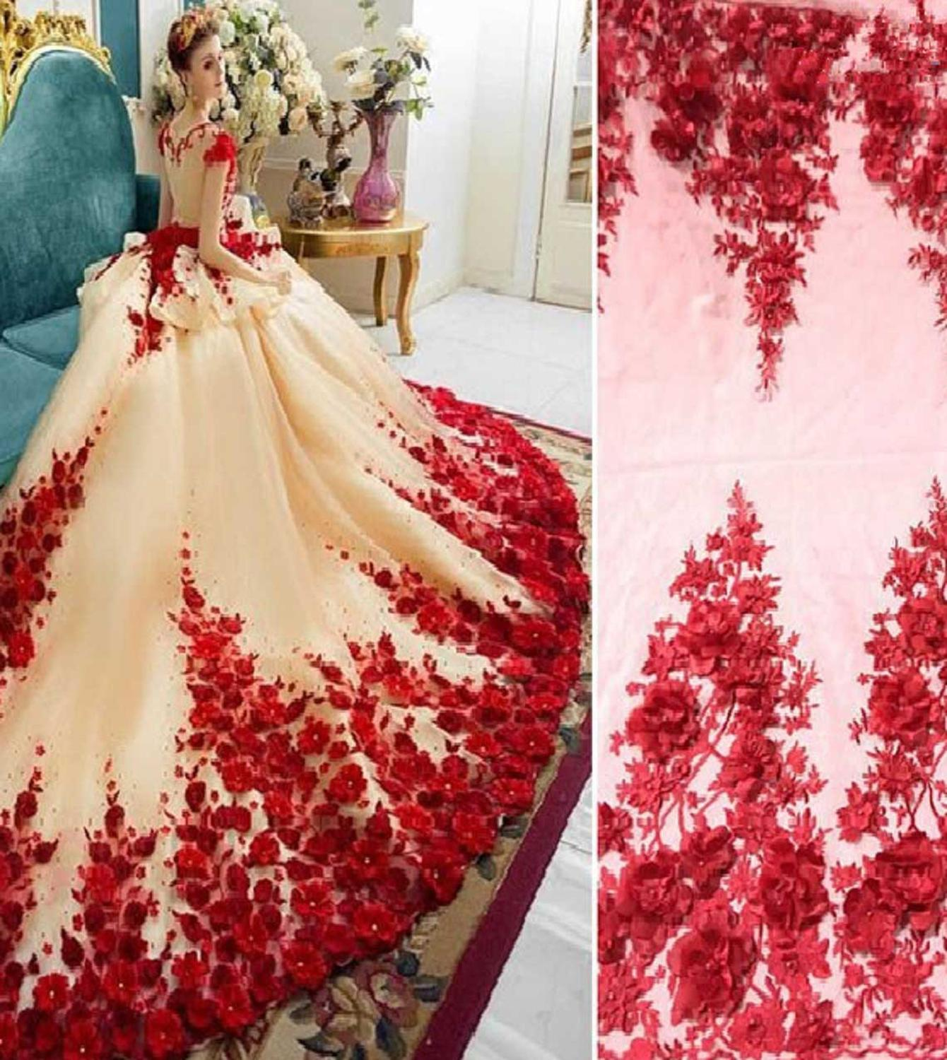 African Lace Florals Pattern 130-140 Cm Width Fabric For Bridal Sold By The 5Yard