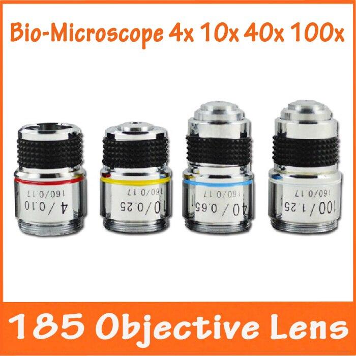 4X, 10X, 40X, 100X4 ШТ. Биологический Микроскоп L = 185 Ахроматический Объектив с резьбой Mouning размер 20.14 мм