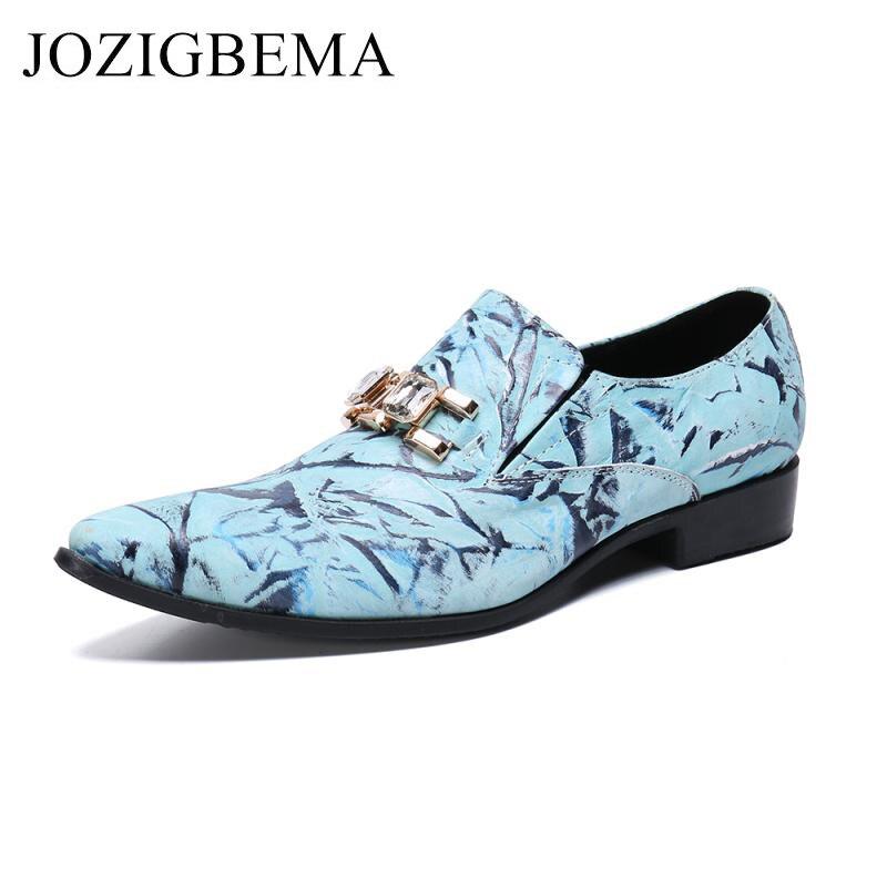 Men's Dress Shoes Fashion Leather Men Business Flat Shoes Wedding shoes blue Breathable Men Formal Office Working Shoes