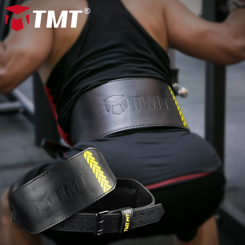 TMT Genuine Leather Weightlifting Belt Cowhide Lumbar Protection Barbell Gym Fitness Training Powerlifting Deadlift Back Support цены онлайн