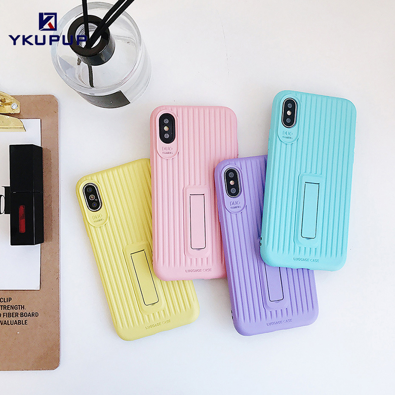 YKUPUP Luxury Phone Case for iphone 7 Soft Silicone Candy Colors Back Cover  For iphone X 8 7 6 s 6s Plus Coque With Phone Holder 6b6428e30e15